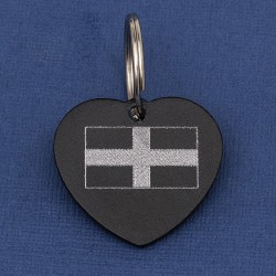 Cornish St Piran's Flag Heart Pet Id Tag