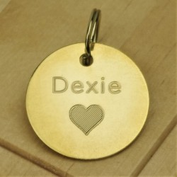 Brass Heart Pet Id Tag