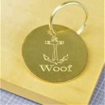Brass Anchor Pet ID Tag