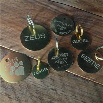 10 Engraved Brass Pet Id Tags 25mm