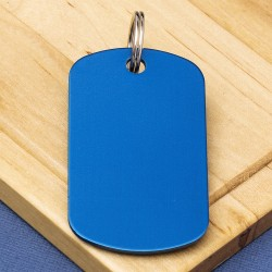 Engraved Military Shaped Tag Blue