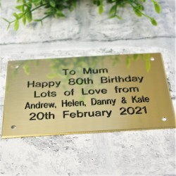 Brass Plaque Engraved Sign 5x4