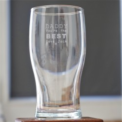 Daddy You're the Best Engraved Pint Gl