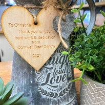 Engraved wooden heart - any message
