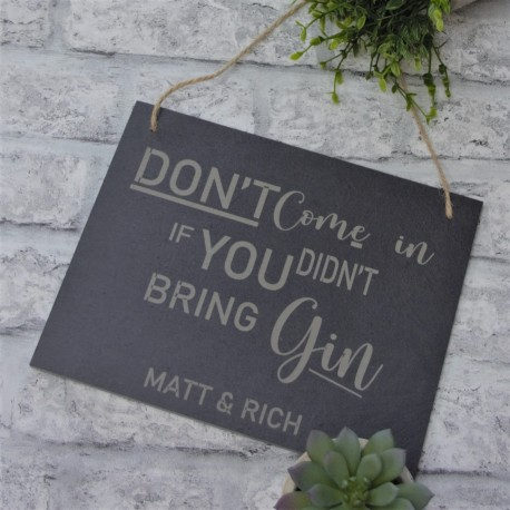 Personalised Hanging Slate Gin Sign